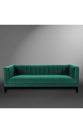 "3-seater ""Guerico"" Art Deco design sofa in green velvet"