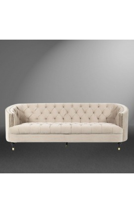 "3-seater ""Ceos"" sofa with Art Deco design basket in beige velvet"
