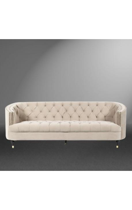 "3-seater ""Ceos"" sofa with Art Deco design basket in beige velvet"