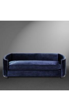 """Canapé 3 places """"Anteos"""" corbeille design Art Deco en velours bleu"""