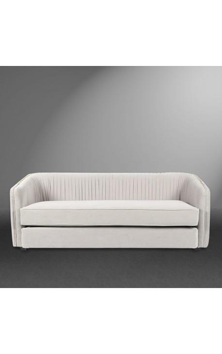 """3-seater """"Leto"""" sofa design Art Deco in beige velvet"""