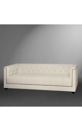 "3-seater ""Morina"" sofa design Art Deco in beige linen"