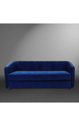 "3-seater ""Leto"" sofa design Art Deco in blue velvet"
