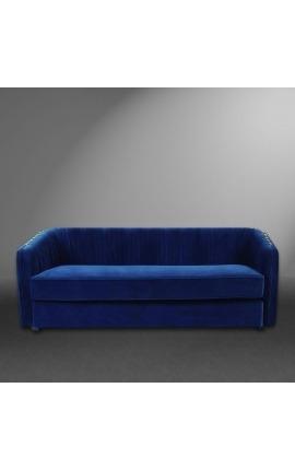 """Canapé 3 places """"Leto"""" design Art Deco en velours bleu"""