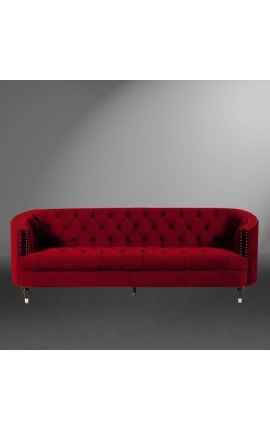 "3-seater ""Ceos"" sofa with Art Deco design basket in burgundy velvet"