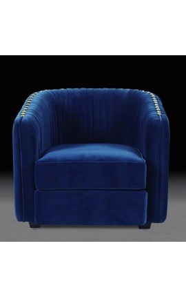 "Art Deco design ""Leto"" armchair in blue velvet"