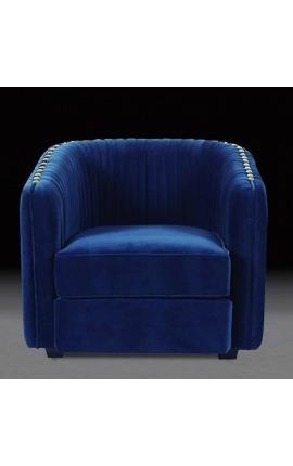 """Fauteuil """"Leto"""" design Art Deco en velours bleu"""