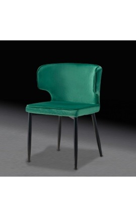 """Alia"" design dining chair in green velvet with black legs"