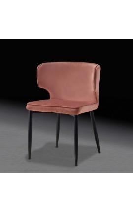 """Chaise de repas """"Alia"""" design en velours rose avec pieds noirs"""