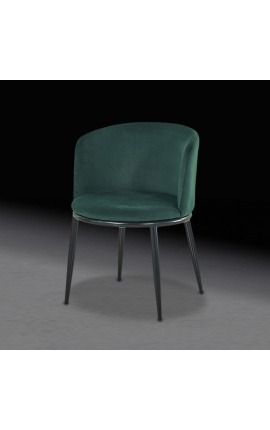 """Chaise de repas """"Siara"""" design en velours vert avec pieds noirs"""
