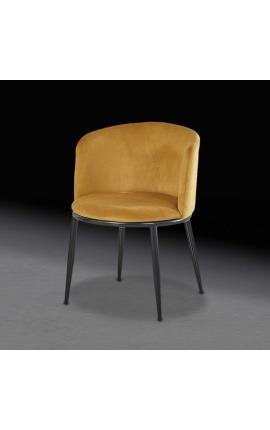 """Chaise de repas """"Siara"""" design en velours ambre avec pieds noirs"""