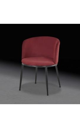 """Chaise de repas """"Siara"""" design en velours bordeaux avec pieds noirs"""