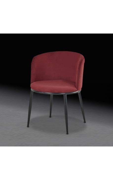 """Design """"Siara"""" dining chair in burgundy velvet with black legs"""