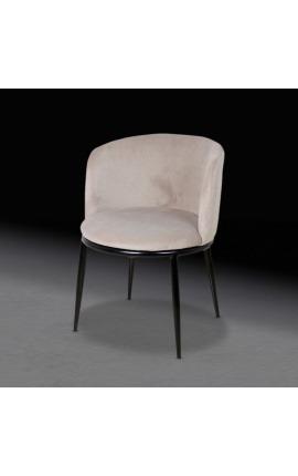"""Chaise de repas """"Siara"""" design en velours beige avec pieds noirs"""