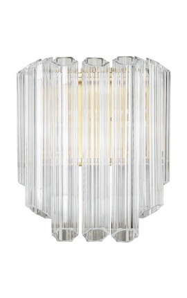 """Lesavi"" wall light in glass and brass-colored metal, Art-Deco inspiration"