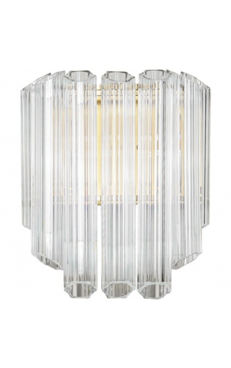 """""""Lesavi"""" wall light in glass and brass-colored metal, Art-Deco inspiration"""