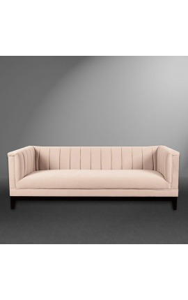 "3-seater ""Guerico"" Art Deco design sofa in pink velvet"