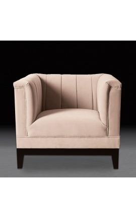 """Fauteuil """"Guerico"""" design Art Deco en velours rose"""