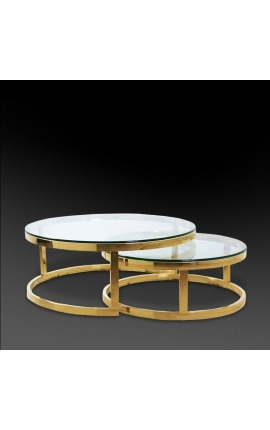 "Set of 2 ""Ladigo"" round coffee table in golden stainless steel"