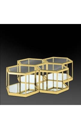 "Coffee table with 4 hexagonal parts ""Daidi"" in golden stainless steel"