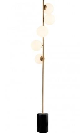 """Lampe sur pied """"Aloa"""" en métal couleur laiton inspiration Art-Déco"""