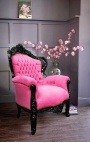 Big baroque style armchair pink velvet and black lacquered wood