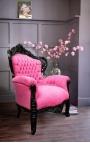 Grand fauteuil de style baroque velours rose et bois laqué noir