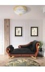 Large chaise longue black velvet Empire style and mahogany