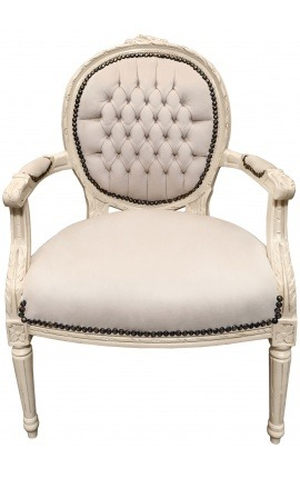 Armchair Louis XVI style beige velvet and beige lacquered wood