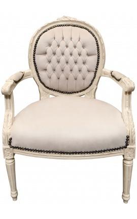 Fauteuil Louis XVI de style baroque velours beige et bois laqué beige