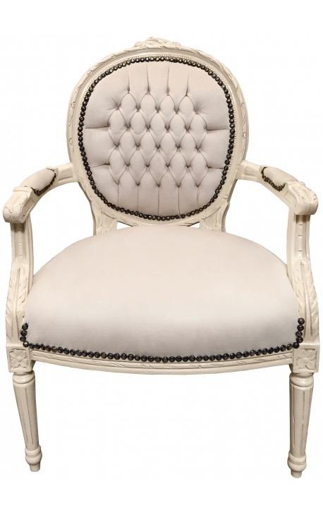 Fauteuil de style Louis XVI velours beige et bois laqué beige