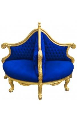 Fauteuil borne baroque tissu velours bleu et bois doré
