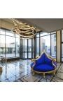 Кресло Borne Baroque из синего бархата и позолоченного дерева
