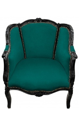 Big bergère armchair Louis XV style green velvet and black wood