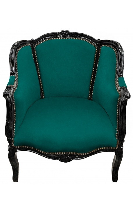 Big bergère armchair Louis XV style green velvet and black wood