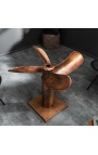 """""""Helix"""" dining table in aluminum and copper-colored steel with glass top"""