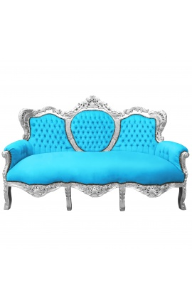 Baroque sofa turquoise velvet and silver wood