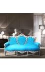 Canapé baroque tissu velours turquoise et bois argenté
