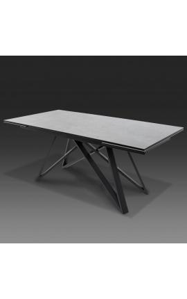 """Table de repas """"Atlantis"""" acier noir et plateau en céramique gris béton 180-220-260"""
