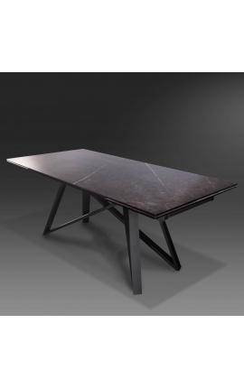 """Table de repas """"Atlantis"""" acier noir et plateau en céramique graphite 180-220-260"""