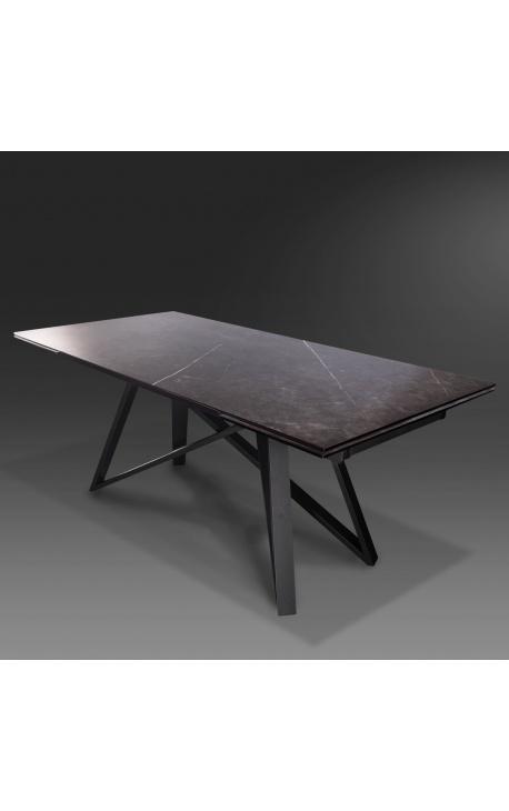 """Atlantis"" dining table black steel and graphite ceramic top 180-220-260"