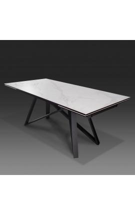 """Table de repas """"Atlantis"""" acier noir et plateau en céramique marbre blanc 180-220-260"""