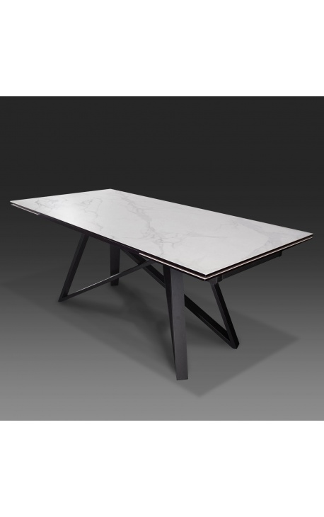 """""""Atlantis"""" dining table black steel with a white marble ceramic top 180-220-260"""