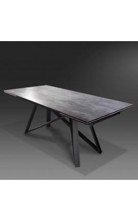 """Стол обеденный """"Атлантис"""" черная сталь с керамической столешницей под лаву 180-220-260"""