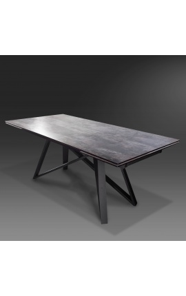 """""""Atlantis"""" dining table black steel with a lava look ceramic top 180-220-260"""
