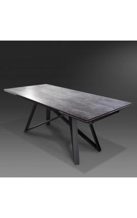 """Table de repas """"Atlantis"""" acier noir et plateau en céramique aspect lave 180-220-260"""