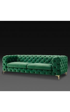 """Canapé 3 places """"Rhea"""" design Art Deco Chesterfield en velours vert émeraude"""