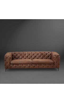 "3-х местный диван ""Rhea"" дизайн ар-деко Честерфилд ткань замша шоколадная"