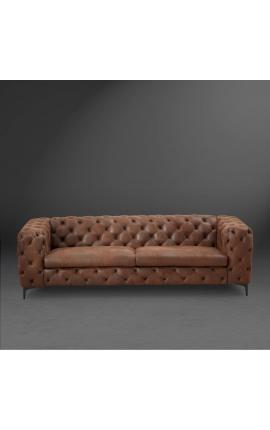 """Canapé 3 places """"Rhea"""" design Art Deco Chesterfield tissu suède chocolat"""