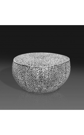 """Round """"Cory"""" coffee table in steel and silver metal 80 cm"""